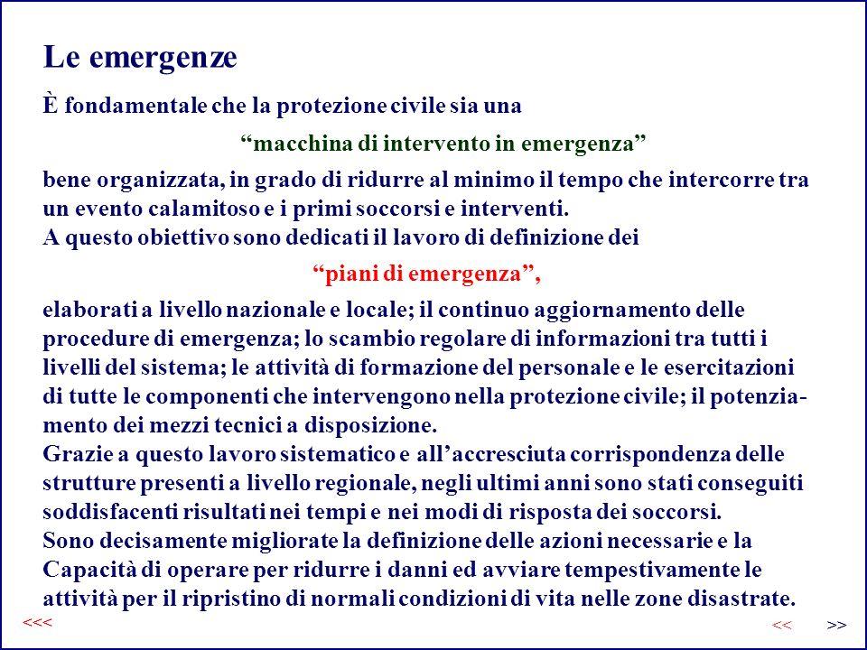 Le emergenze elaborati a livello nazionale e locale; il continuo aggiornamento delle procedure di emergenza; lo scambio regolare di informazioni tra t