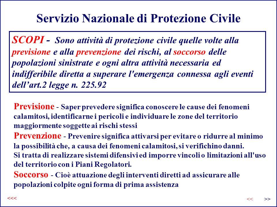 Servizio Nazionale di Protezione Civile Previsione - Saper prevedere significa conoscere le cause dei fenomeni calamitosi, identificarne i pericoli e