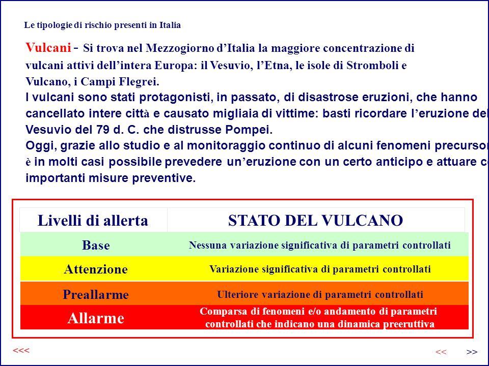 Le tipologie di rischio presenti in Italia Vulcani - Si trova nel Mezzogiorno dItalia la maggiore concentrazione di vulcani attivi dellintera Europa: