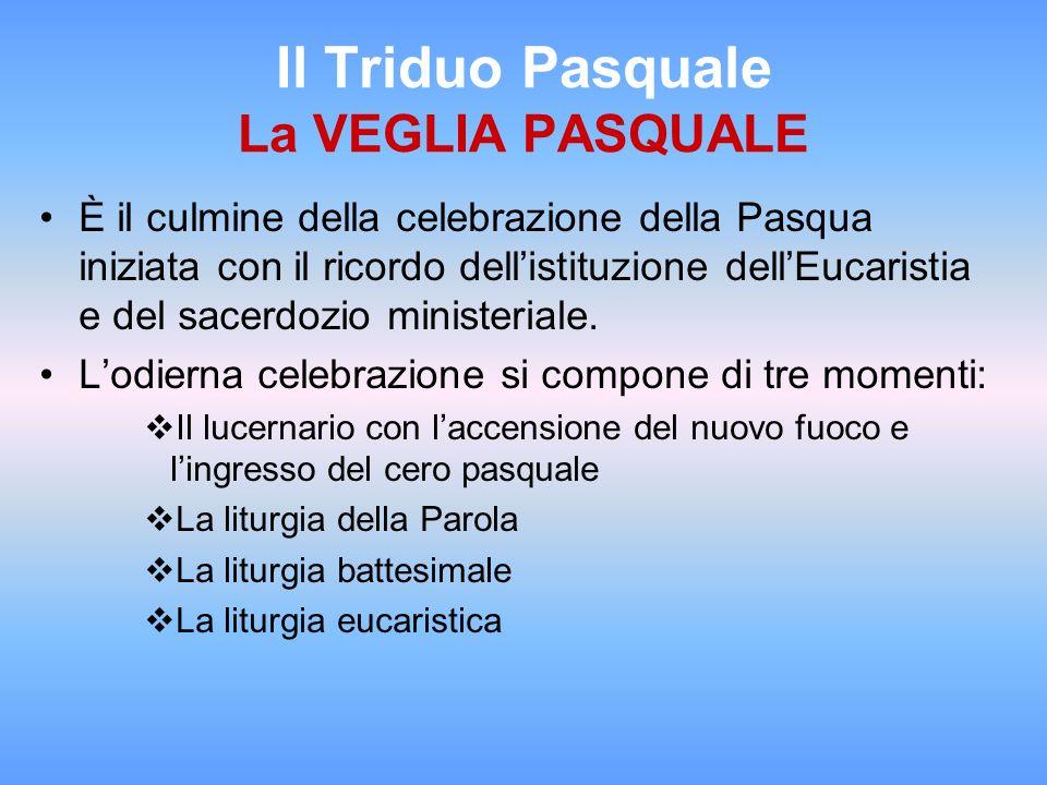 Il Triduo Pasquale La VEGLIA PASQUALE È il culmine della celebrazione della Pasqua iniziata con il ricordo dellistituzione dellEucaristia e del sacerd
