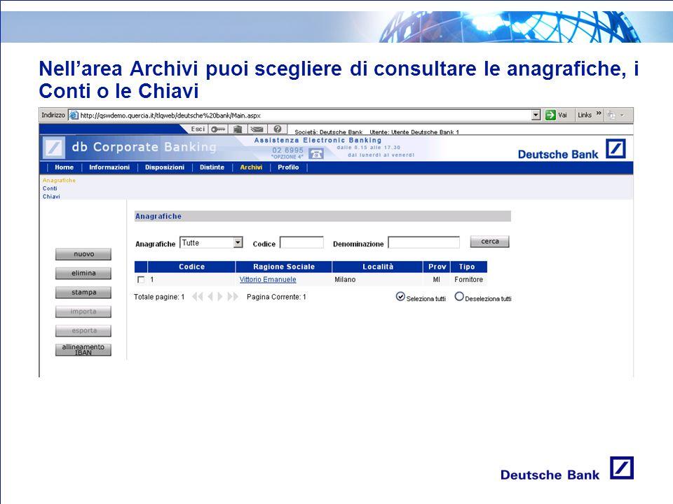 Nellarea Archivi puoi scegliere di consultare le anagrafiche, i Conti o le Chiavi