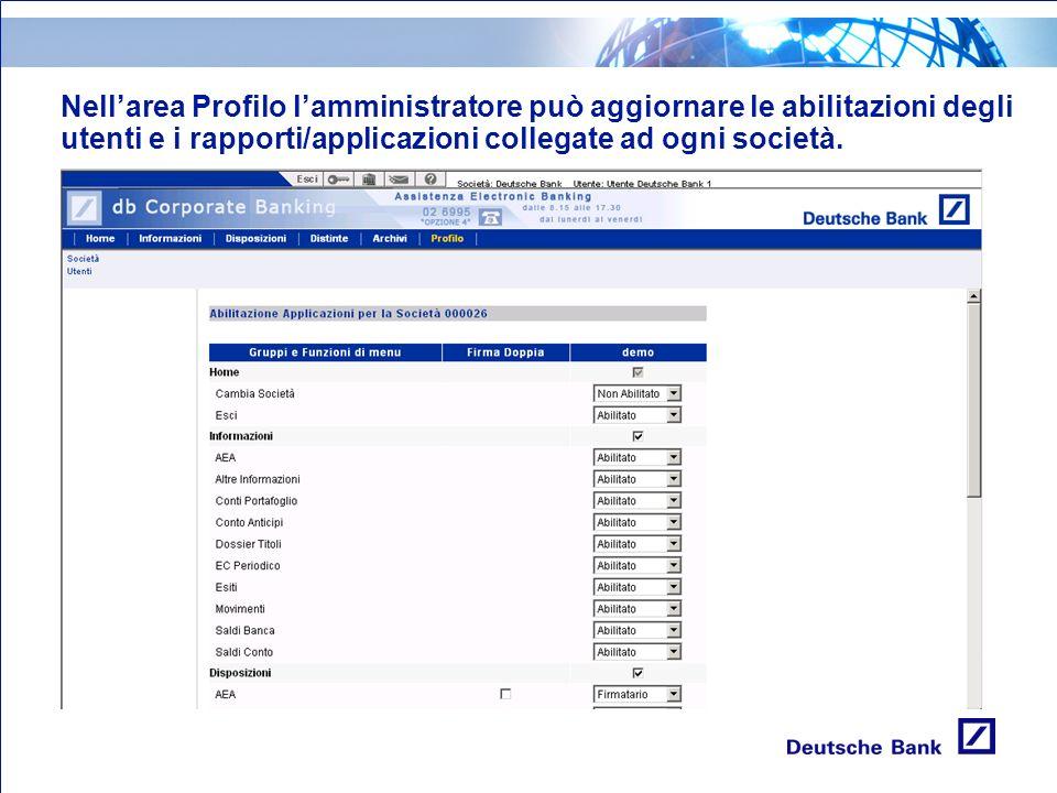 Nellarea Profilo lamministratore può aggiornare le abilitazioni degli utenti e i rapporti/applicazioni collegate ad ogni società.
