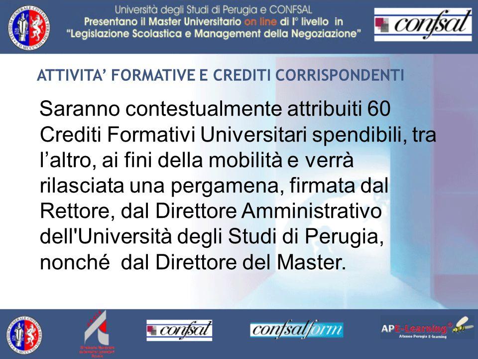 ATTIVITA FORMATIVE E CREDITI CORRISPONDENTI Saranno contestualmente attribuiti 60 Crediti Formativi Universitari spendibili, tra laltro, ai fini della
