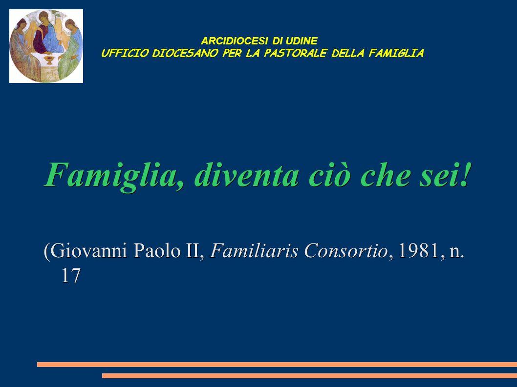 ARCIDIOCESI DI UDINE UFFICIO DIOCESANO PER LA PASTORALE DELLA FAMIGLIA Famiglia, diventa ciò che sei! (Giovanni Paolo II, Familiaris Consortio, 1981,