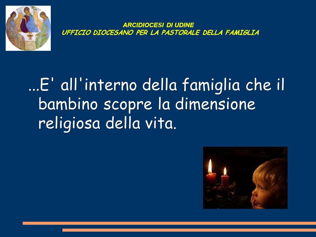 ARCIDIOCESI DI UDINE UFFICIO DIOCESANO PER LA PASTORALE DELLA FAMIGLIA...E' all'interno della famiglia che il bambino scopre la dimensione religiosa d