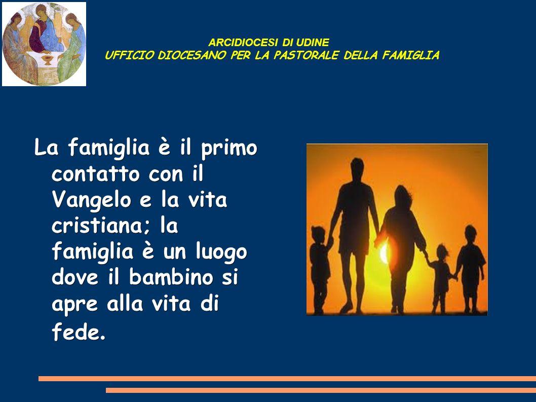 ARCIDIOCESI DI UDINE UFFICIO DIOCESANO PER LA PASTORALE DELLA FAMIGLIA La famiglia è il primo contatto con il Vangelo e la vita cristiana; la famiglia