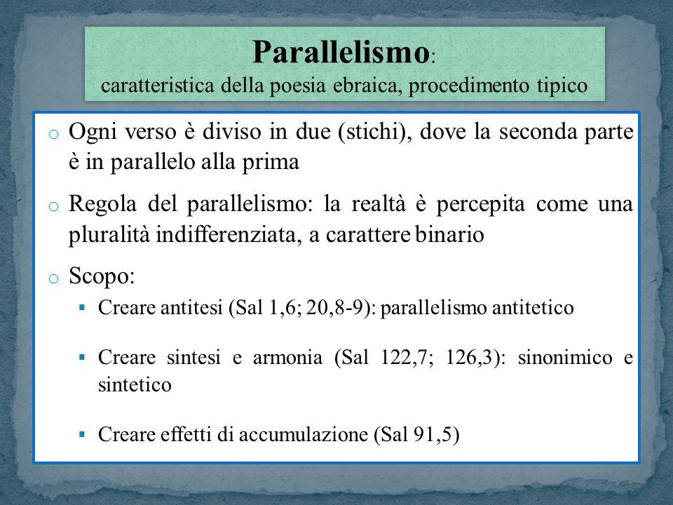 o Ogni verso è diviso in due (stichi), dove la seconda parte è in parallelo alla prima o Regola del parallelismo: la realtà è percepita come una plura