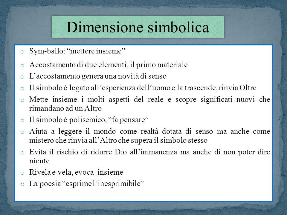 o Sym-ballo: mettere insieme o Accostamento di due elementi, il primo materiale o Laccostamento genera una novità di senso o Il simbolo è legato alles