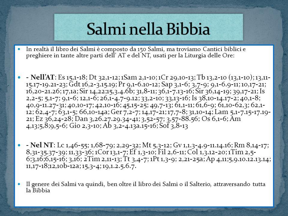 In realtà il libro dei Salmi è composto da 150 Salmi, ma troviamo Cantici biblici e preghiere in tante altre parti dell AT e del NT, usati per la Litu