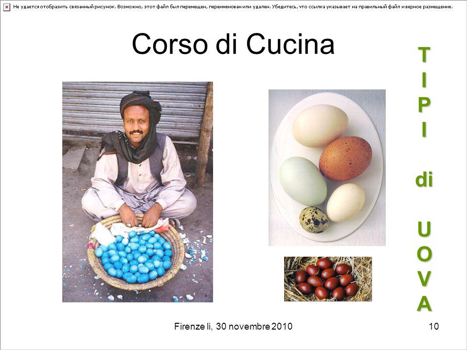 Firenze li, 30 novembre 201010 Corso di Cucina T I P I di U O V A