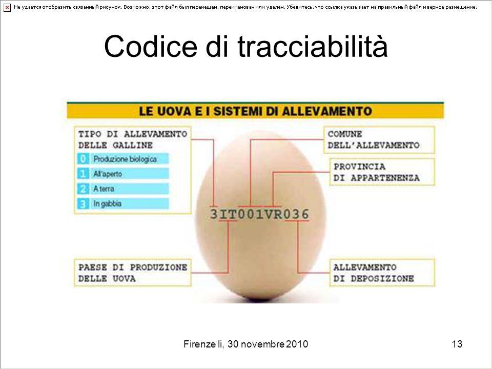 Firenze li, 30 novembre 201013 Codice di tracciabilità