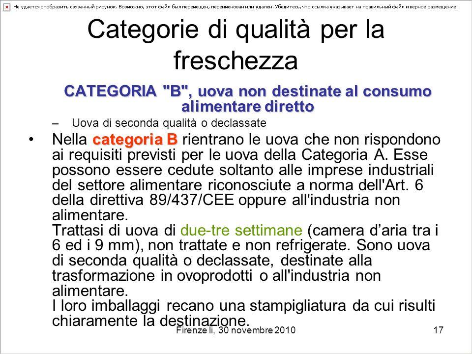 Firenze li, 30 novembre 201017 Categorie di qualità per la freschezza CATEGORIA