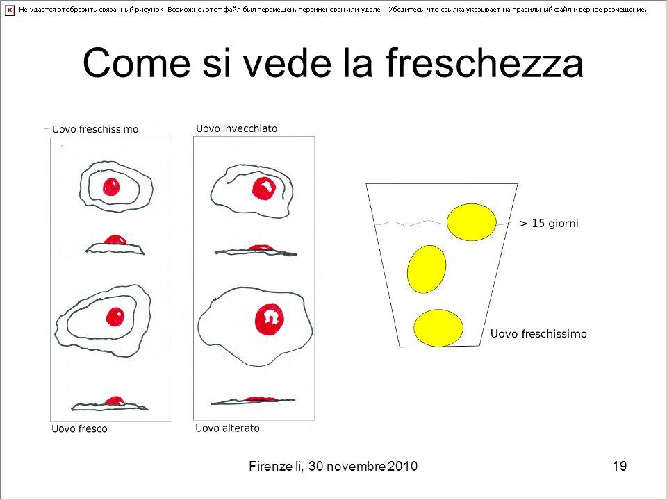 Firenze li, 30 novembre 201019 Come si vede la freschezza