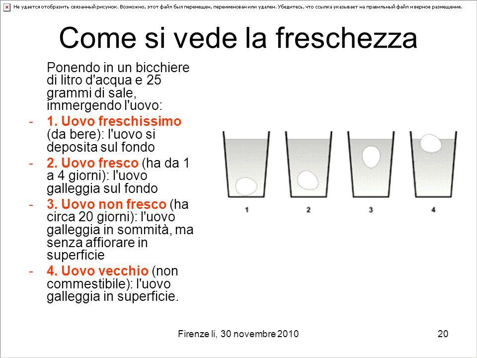 Firenze li, 30 novembre 201020 Come si vede la freschezza Ponendo in un bicchiere di litro d'acqua e 25 grammi di sale, immergendo l'uovo: -1. Uovo fr