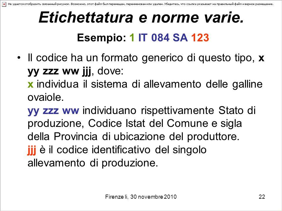 Firenze li, 30 novembre 201022 Etichettatura e norme varie. Esempio: 1 IT 084 SA 123 Il codice ha un formato generico di questo tipo, x yy zzz ww jjj,