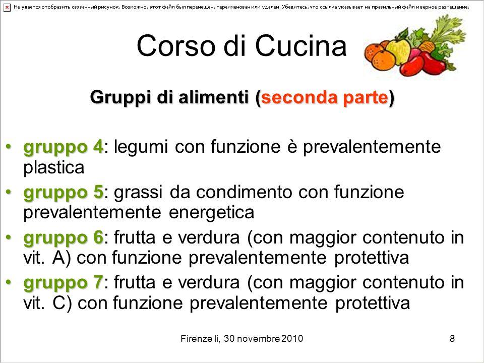 Firenze li, 30 novembre 20108 Corso di Cucina Gruppi di alimenti (seconda parte) gruppo 4gruppo 4: legumi con funzione è prevalentemente plastica grup