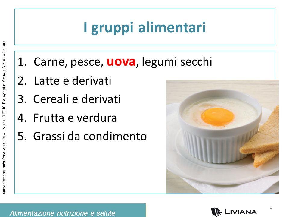Alimentazione nutrizione e salute Alimentazione nutrizione e salute – Liviana © 2010 De Agostini Scuola S.p.A. – Novara I gruppi alimentari 1.Carne, p