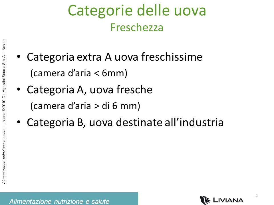 Alimentazione nutrizione e salute Alimentazione nutrizione e salute – Liviana © 2010 De Agostini Scuola S.p.A. – Novara Categorie delle uova Freschezz