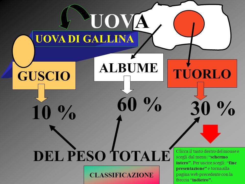 TUORLO ALBUME UOVA DI GALLINA GUSCIO UOVA 10 % 60 % 30 % DEL PESO TOTALE CLASSIFICAZIONE Clicca il tasto destro del mouse e scegli dal menu: schermo i