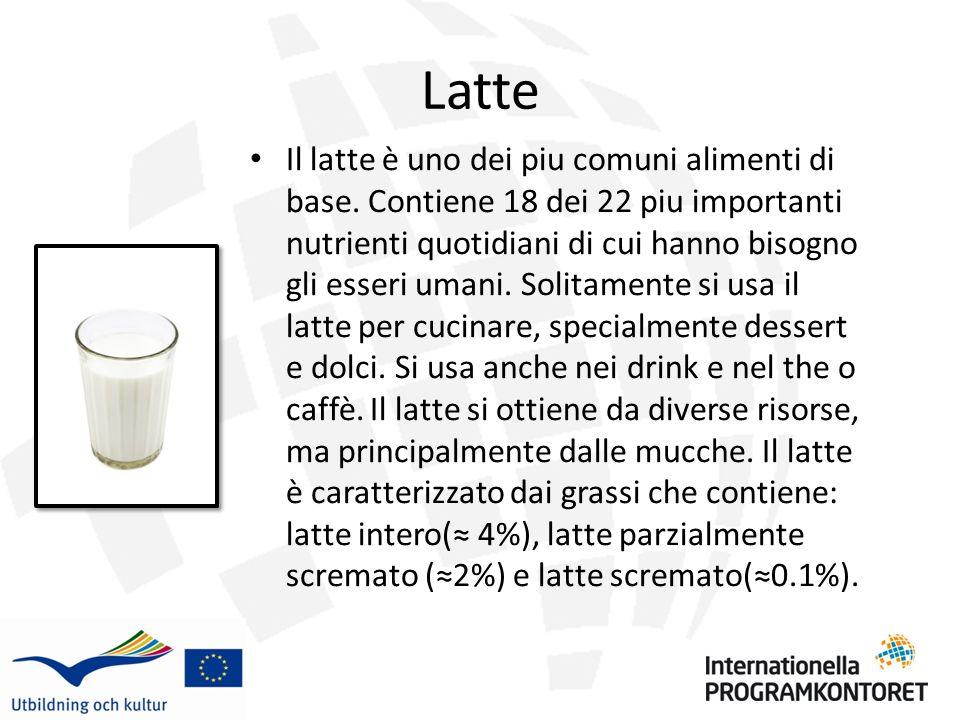 Panna La panna si ottiene dal latte di mucca, ma contiene molta meno acqua e piu grassi.