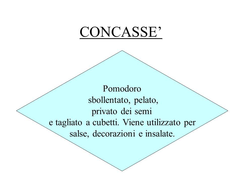 CONCASSE Pomodoro sbollentato, pelato, privato dei semi e tagliato a cubetti. Viene utilizzato per salse, decorazioni e insalate.