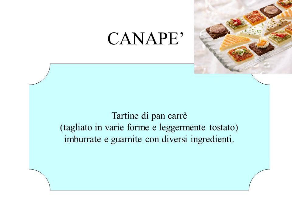 CANAPE Tartine di pan carrè (tagliato in varie forme e leggermente tostato) imburrate e guarnite con diversi ingredienti.