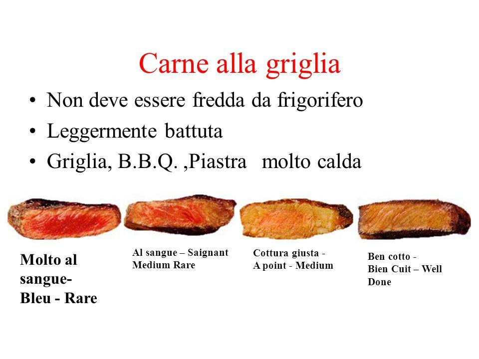 Carne alla griglia Non deve essere fredda da frigorifero Leggermente battuta Griglia, B.B.Q.,Piastra molto calda Al sangue – Saignant Medium Rare Cott