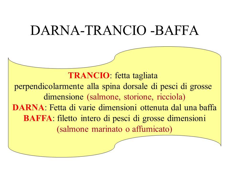 DARNA-TRANCIO -BAFFA TRANCIO: fetta tagliata perpendicolarmente alla spina dorsale di pesci di grosse dimensione (salmone, storione, ricciola) DARNA: