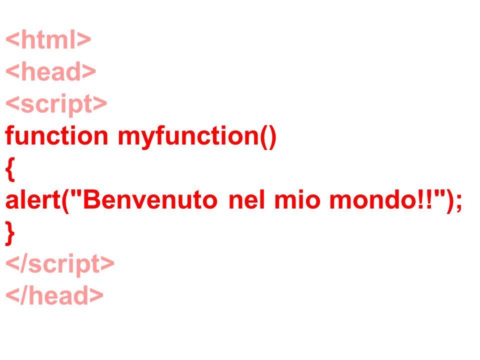 function myfunction() { alert( Benvenuto nel mio mondo!! ); }