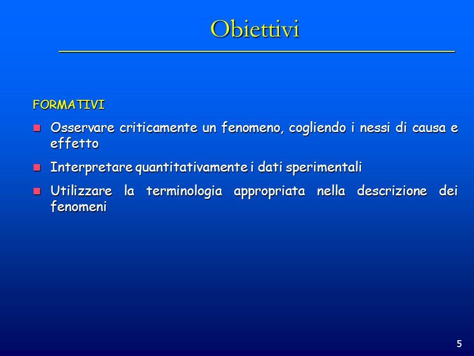 5 Obiettivi FORMATIVI Osservare criticamente un fenomeno, cogliendo i nessi di causa e effetto Osservare criticamente un fenomeno, cogliendo i nessi d