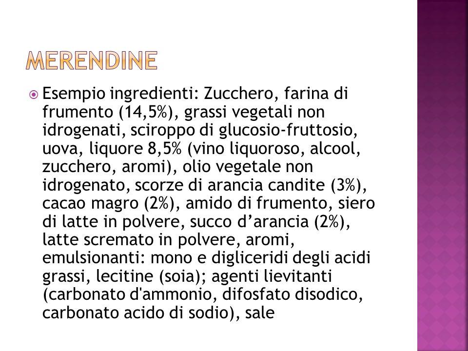 Esempio ingredienti: Zucchero, farina di frumento (14,5%), grassi vegetali non idrogenati, sciroppo di glucosio-fruttosio, uova, liquore 8,5% (vino li