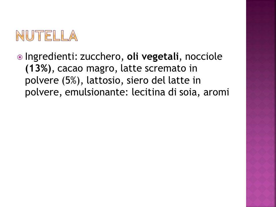 Ingredienti: zucchero, oli vegetali, nocciole (13%), cacao magro, latte scremato in polvere (5%), lattosio, siero del latte in polvere, emulsionante: