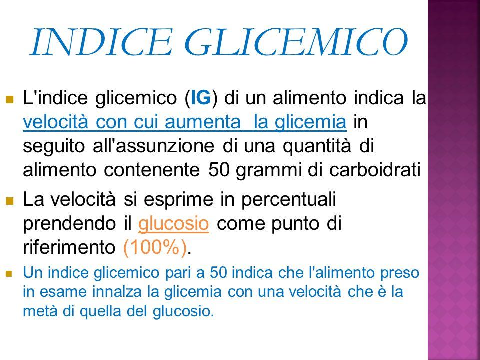 INDICE GLICEMICO L'indice glicemico (IG) di un alimento indica la velocità con cui aumenta la glicemia in seguito all'assunzione di una quantità di al