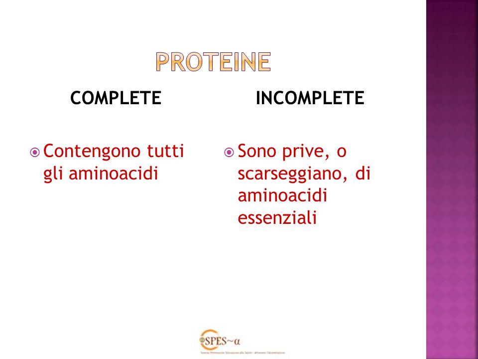 COMPLETE Contengono tutti gli aminoacidi INCOMPLETE Sono prive, o scarseggiano, di aminoacidi essenziali