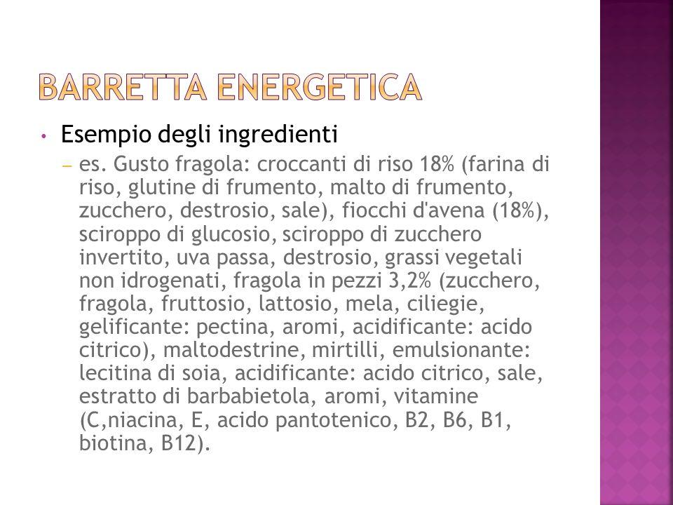 Esempio degli ingredienti – es. Gusto fragola: croccanti di riso 18% (farina di riso, glutine di frumento, malto di frumento, zucchero, destrosio, sal
