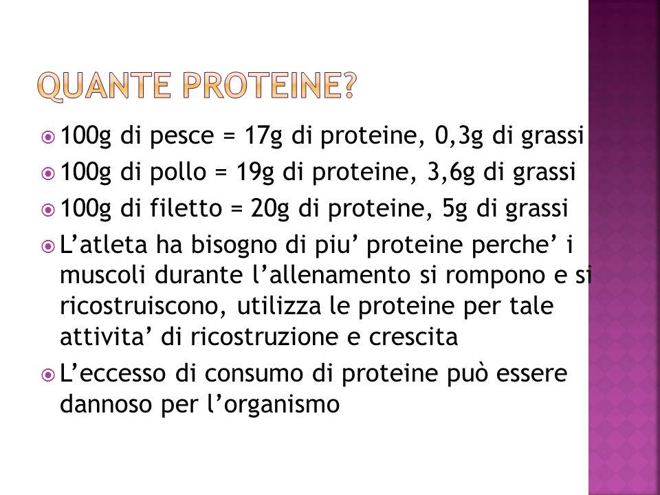 100g di pesce = 17g di proteine, 0,3g di grassi 100g di pollo = 19g di proteine, 3,6g di grassi 100g di filetto = 20g di proteine, 5g di grassi Latlet