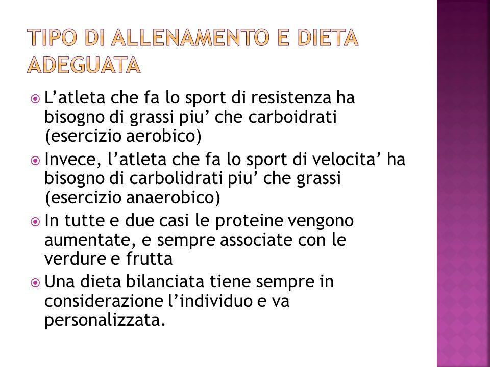 Latleta che fa lo sport di resistenza ha bisogno di grassi piu che carboidrati (esercizio aerobico) Invece, latleta che fa lo sport di velocita ha bis
