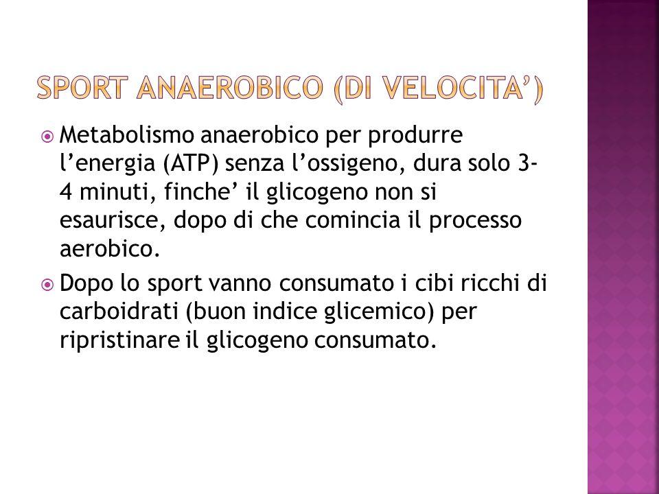 Metabolismo anaerobico per produrre lenergia (ATP) senza lossigeno, dura solo 3- 4 minuti, finche il glicogeno non si esaurisce, dopo di che comincia