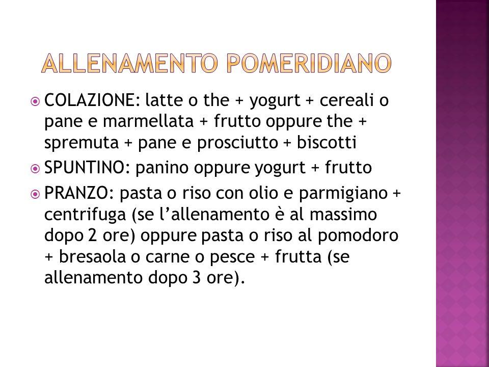 COLAZIONE: latte o the + yogurt + cereali o pane e marmellata + frutto oppure the + spremuta + pane e prosciutto + biscotti SPUNTINO: panino oppure yo
