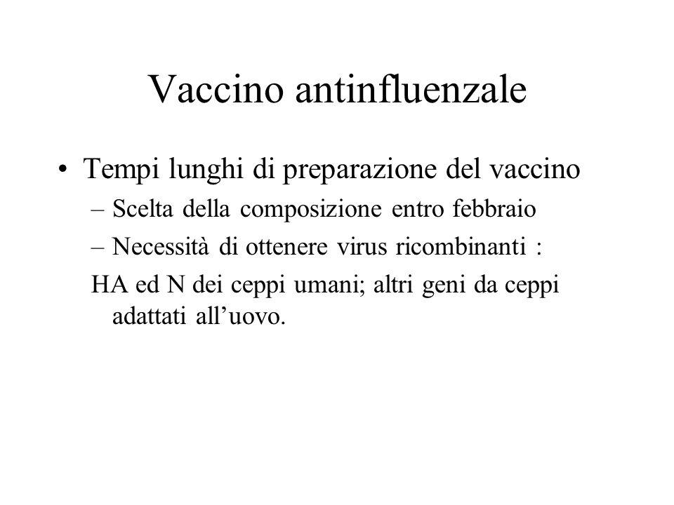 Vaccino antinfluenzale Tempi lunghi di preparazione del vaccino –Scelta della composizione entro febbraio –Necessità di ottenere virus ricombinanti :