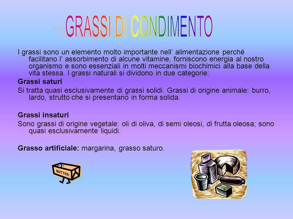 GRASSI DI CONDIMENTO OLIO D OLIVAOLI DI SEMILATTE BURRO