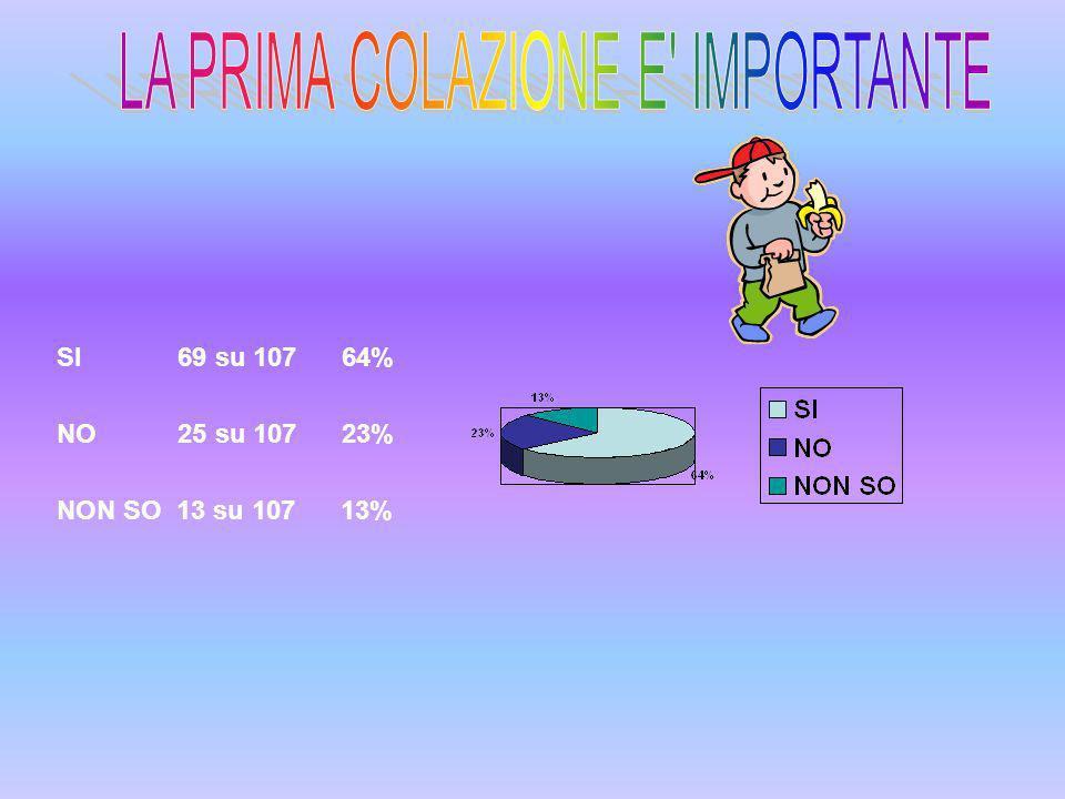 SI 69 su 107 64% NO 25 su 107 23% NON SO 13 su 107 13%