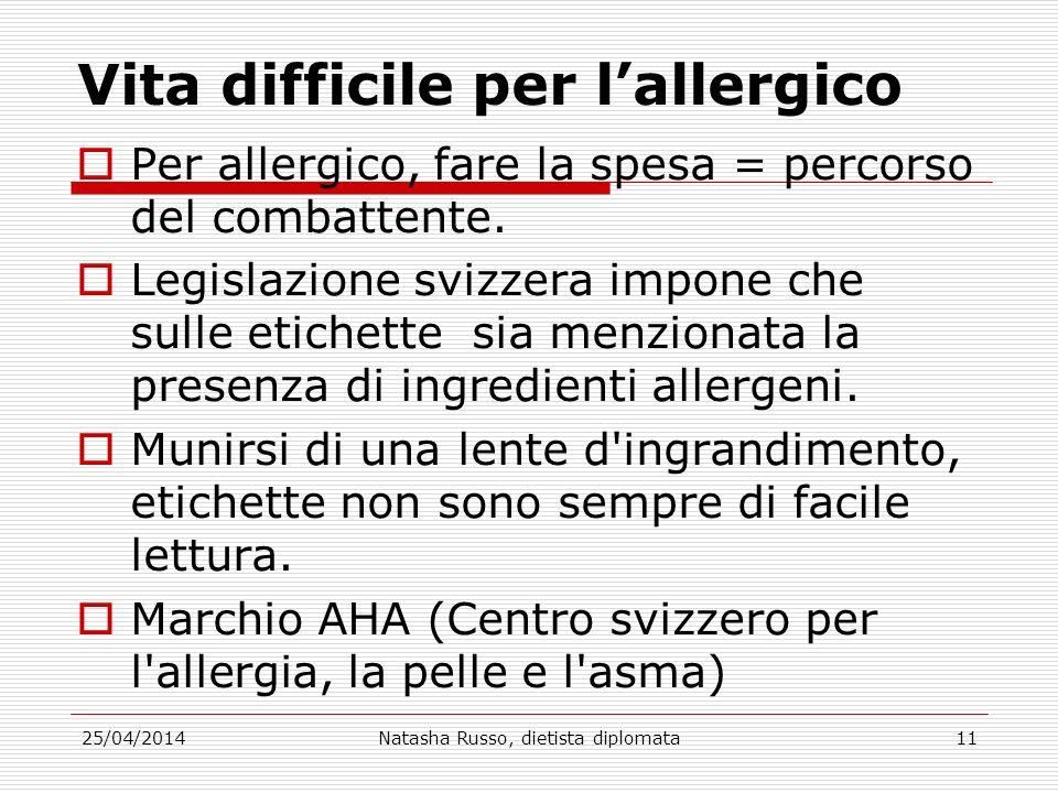 Vita difficile per lallergico Per allergico, fare la spesa = percorso del combattente. Legislazione svizzera impone che sulle etichette sia menzionata