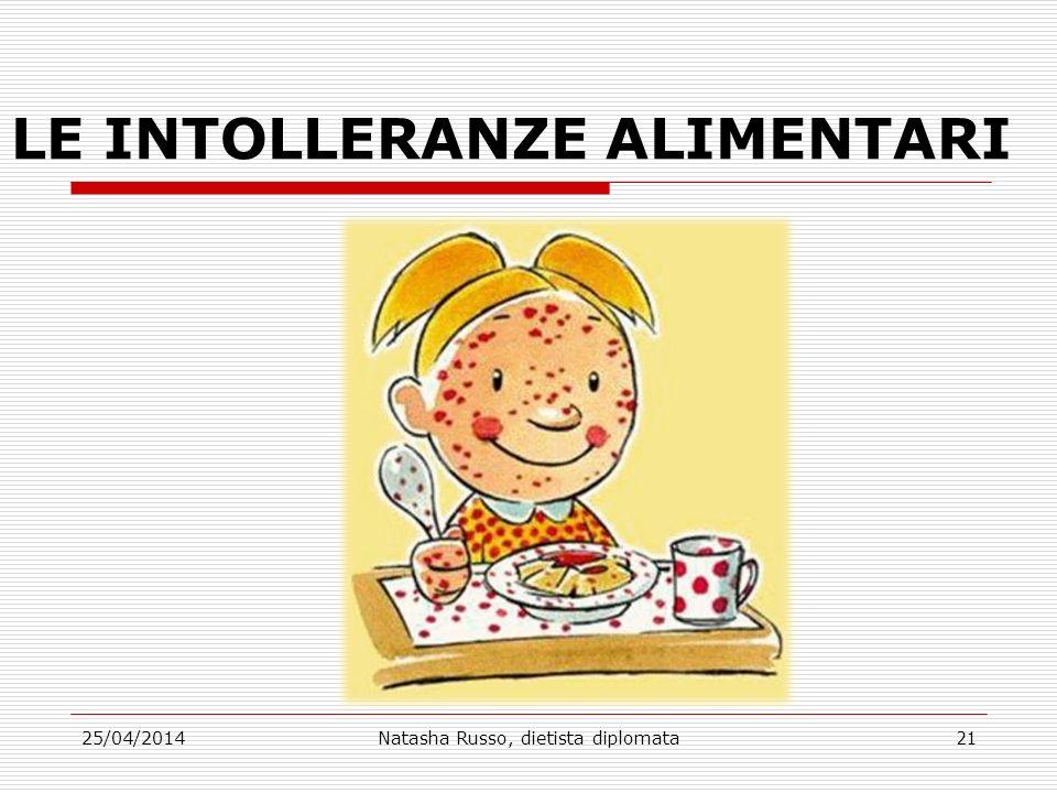 LE INTOLLERANZE ALIMENTARI 25/04/2014Natasha Russo, dietista diplomata21