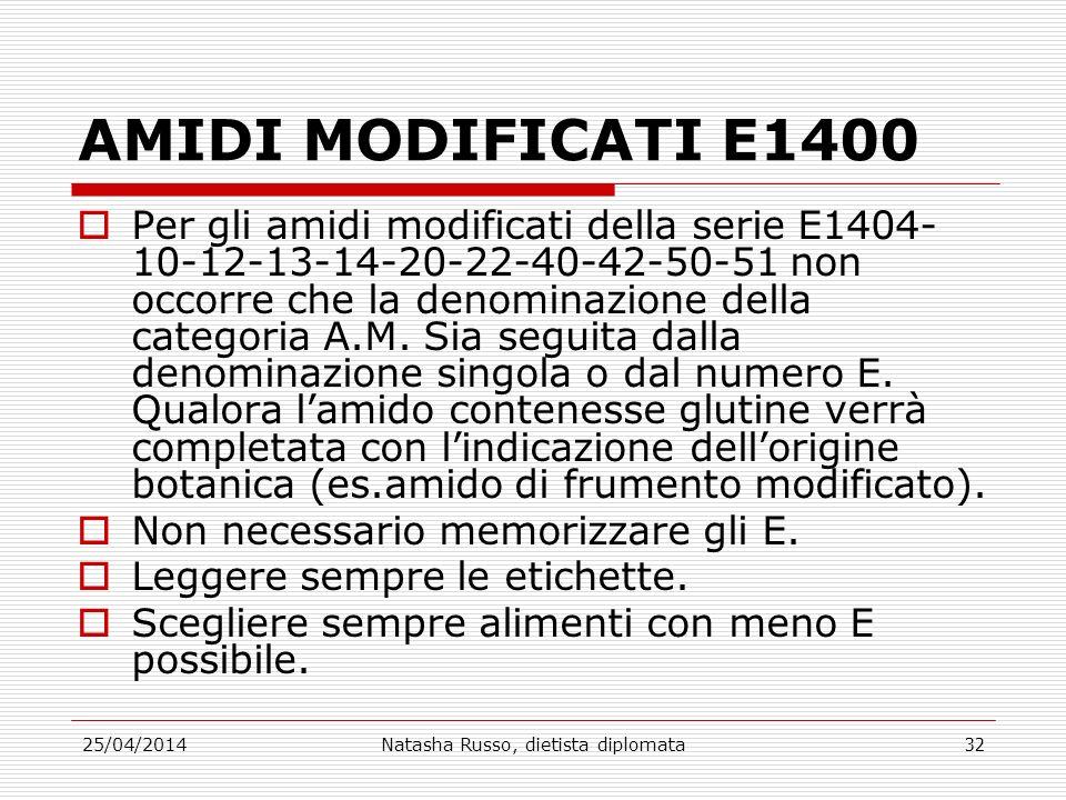 25/04/2014Natasha Russo, dietista diplomata32 AMIDI MODIFICATI E1400 Per gli amidi modificati della serie E1404- 10-12-13-14-20-22-40-42-50-51 non occ