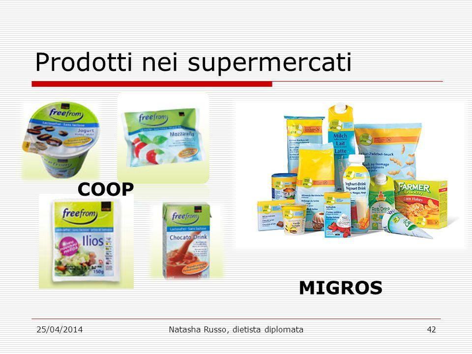 Prodotti nei supermercati 25/04/2014Natasha Russo, dietista diplomata42 COOP MIGROS