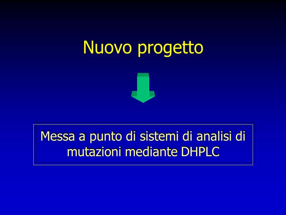 Nuovo progetto Messa a punto di sistemi di analisi di mutazioni mediante DHPLC