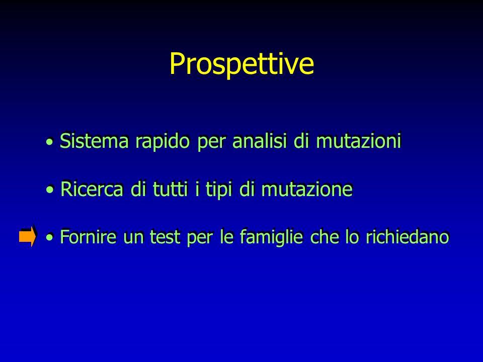Prospettive Sistema rapido per analisi di mutazioni Ricerca di tutti i tipi di mutazione Fornire un test per le famiglie che lo richiedano Sistema rap