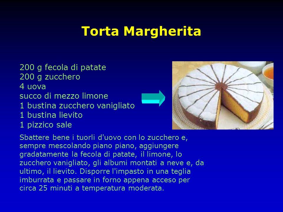 Torta Margherita 200 g fecola di patate 200 g zucchero 4 uova succo di mezzo limone 1 bustina zucchero vanigliato 1 bustina lievito 1 pizzico sale Sba