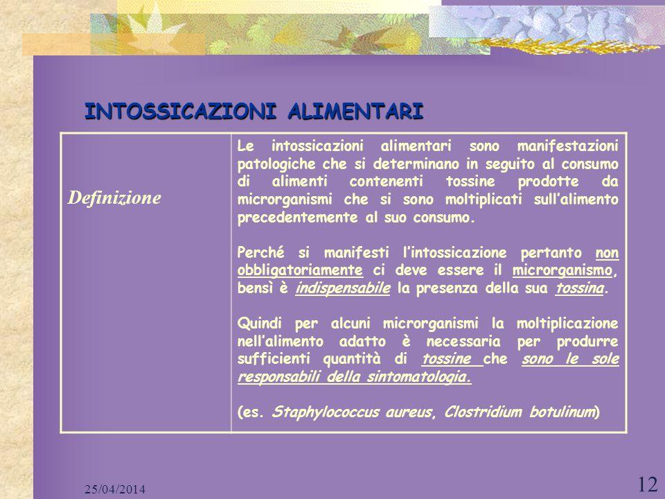 25/04/2014 12 INTOSSICAZIONI ALIMENTARI Definizione Le intossicazioni alimentari sono manifestazioni patologiche che si determinano in seguito al cons